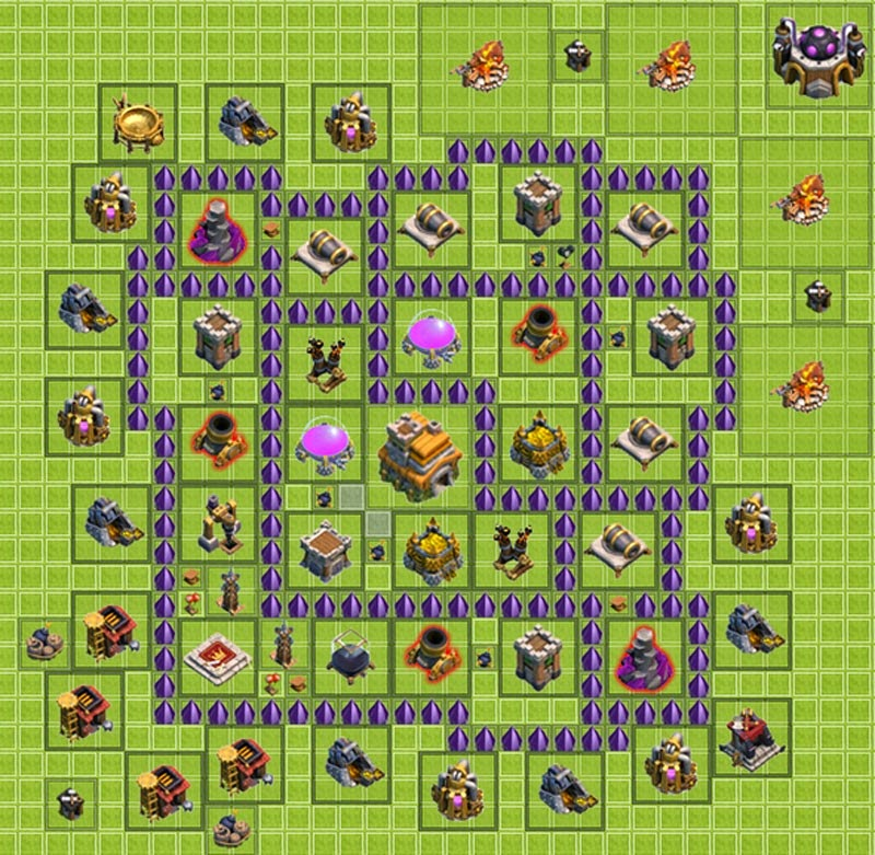 formasi, base, th, town hall, coc, farming, defense, hybrid, images, foto, gambar, android, base th 7