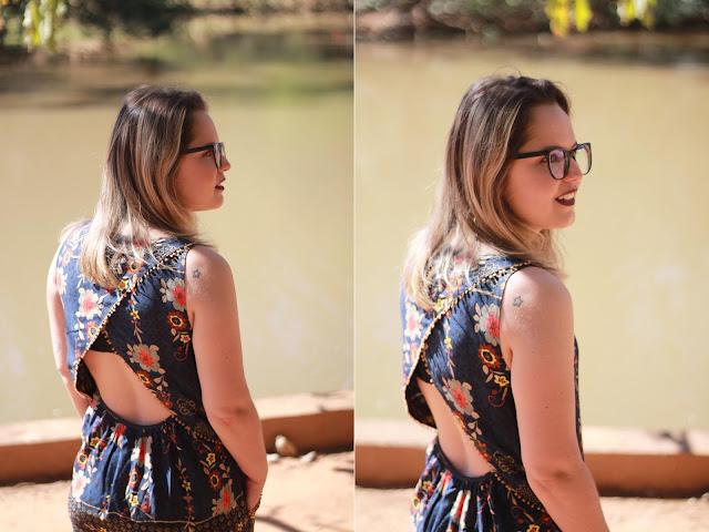 vestido curto com costas abertas cantão