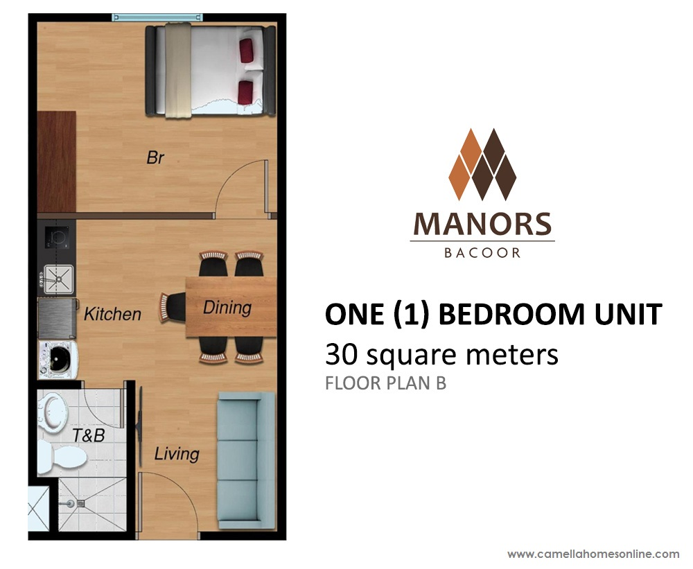Floor Plan of One (1) Bedroom 30 Sqm - Camella Condo Homes Bacoor | Condo for Sale Bacoor Cavite