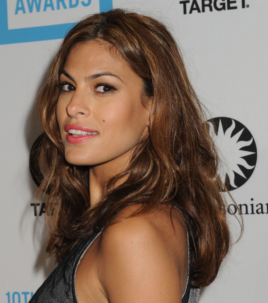 This rich, Medium Brown hair color complements Eva Mendes ... |Eva Mendes Hair Color