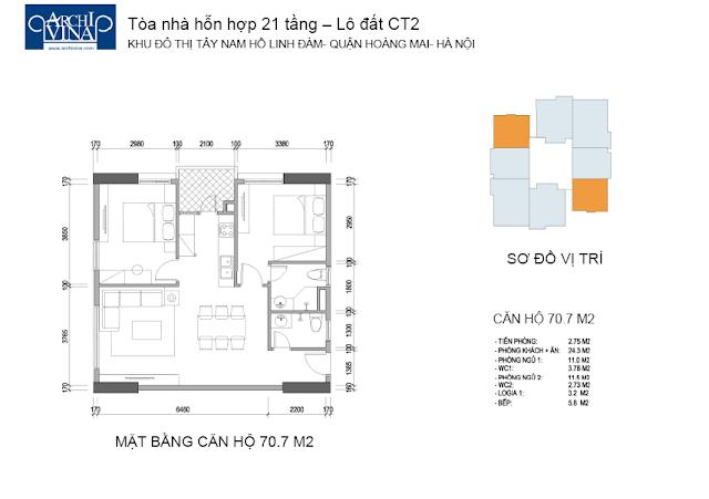 Mặt bằng căn hộ 70.7 m2 chung cư b1ct2 tây nam linh đàm và Chung cư b2ct2 tây nam linh đàm