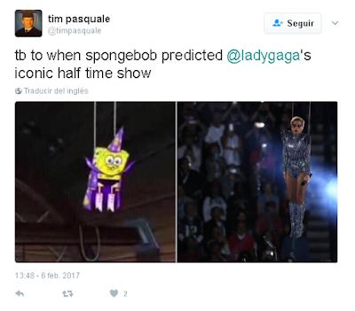 Hasta cuando BoB Esponja pronosticó el icónico espectáculo de medio tiempo de @LadyGaga