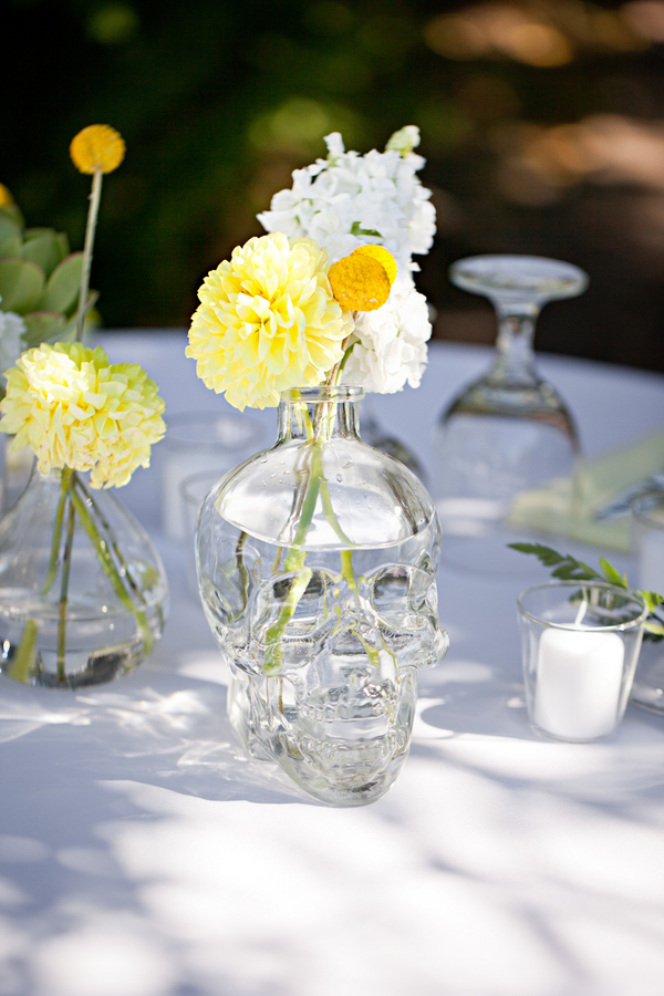 Bride+groom+vintage+tattoo+retro+yellow+white+modern+goth+gothic+succulent+bouquet+button+wedding+cake+theme+day+of+the+dead+grooms+cake+boho+chic+Mirelle+Carmichael+Photography+8 - Succulents & Cream