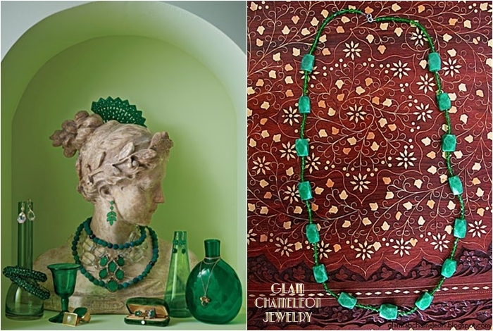 Glam Chameleon Jewelry chrysoprase and green beads necklace