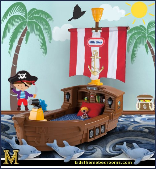 pirates-little-tikes-pirate-bed-themed wall murals, tropical themed wall murals,  nautical themed wall murals