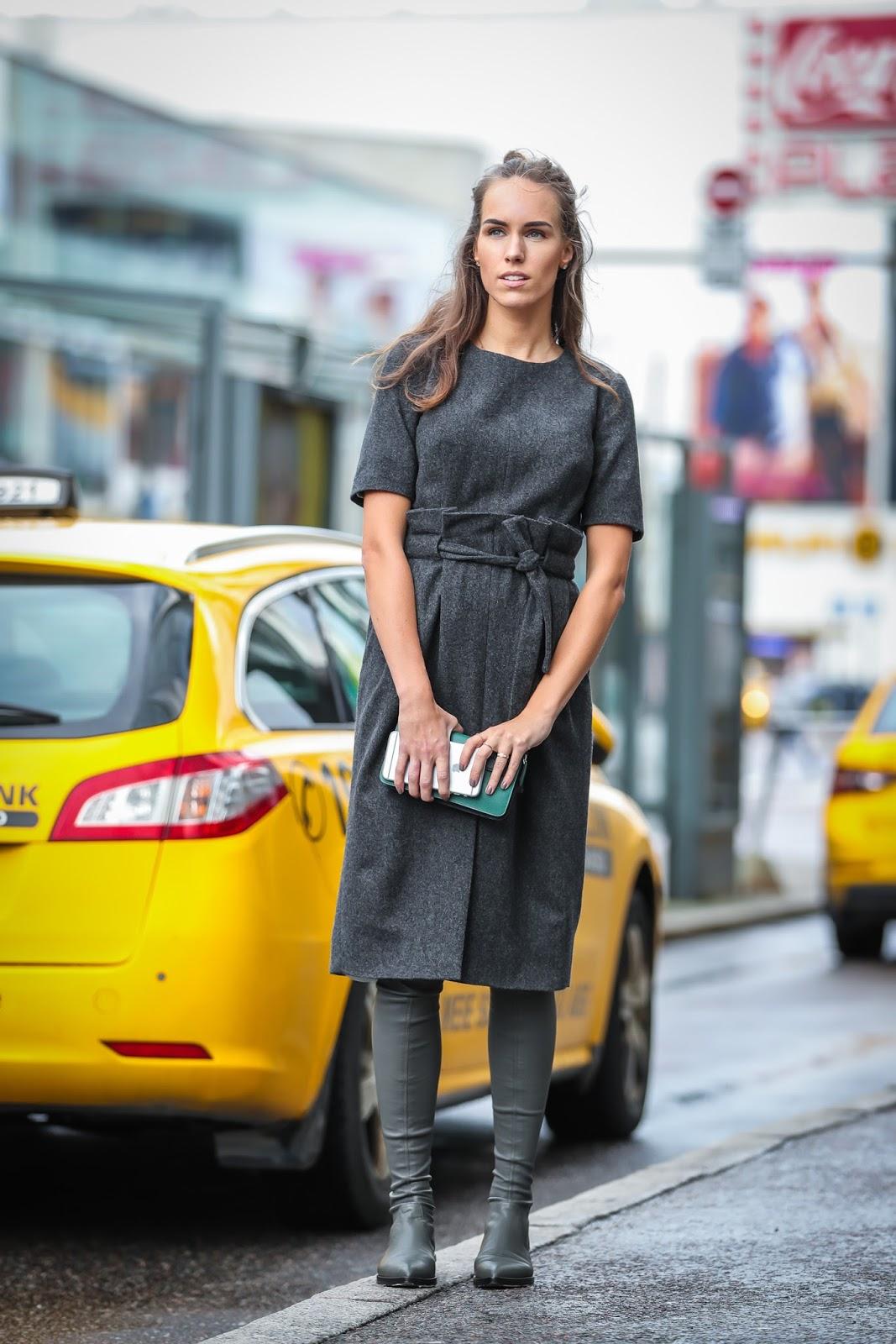 gray wool dress over knee boots fall streetstyle