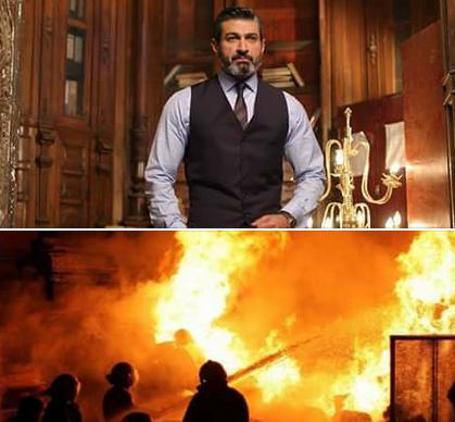 لحظة نشوب حريق بديكور مسلسل ياسر جلال «رحيم» (فيديو)