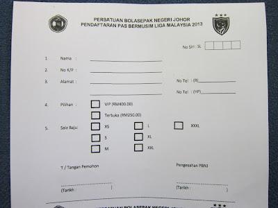 Pendaftaran Pas Bermusim Liga Malaysia 2013