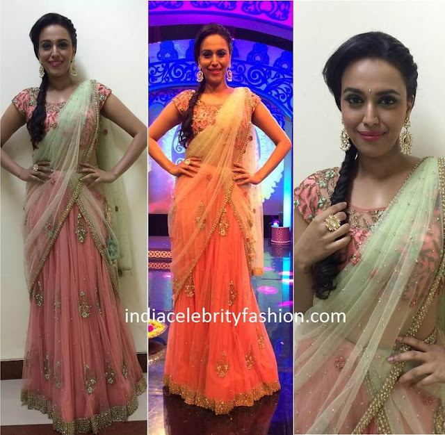 Swara Bhaskar in Peppermint diva Half Saree