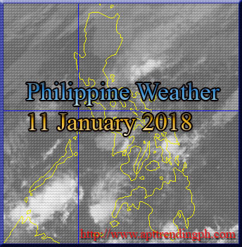Philippine weather image taken via PAGASA Weather Satellite, HIMAWARI as of 8:00 AM, 11 Janauary 2018.