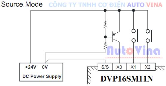 Hướng dẫn đấu nối, kết nối sơ đồ đấu nối ngõ vào dạng Source mode cho module DVP16SP11N PLC Delta