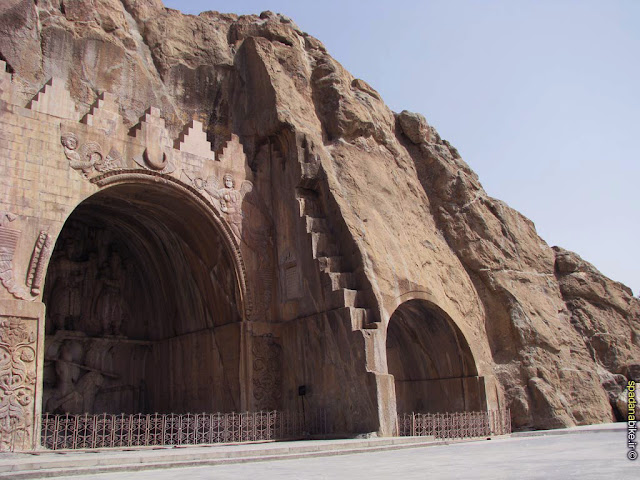 The two ornamented arcs of Taq e Bostan in Kermanshah.