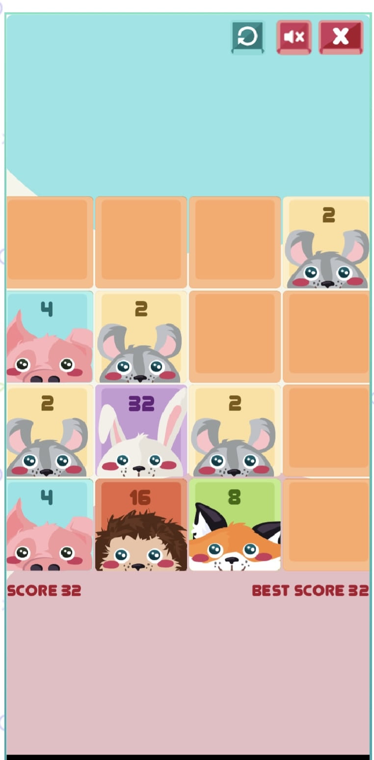 Free 2048 Cuteness Edition Math educational online puzzle game