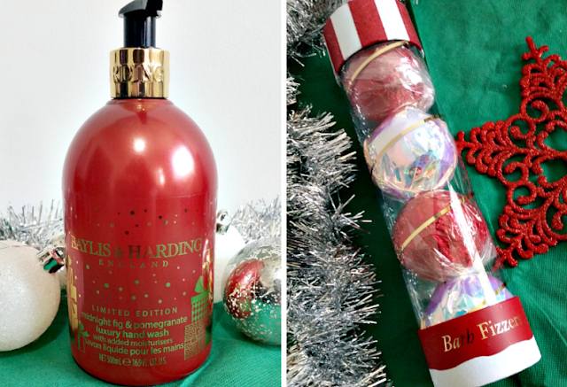 a red bottle of handwash and a tube of festive bath fizzers