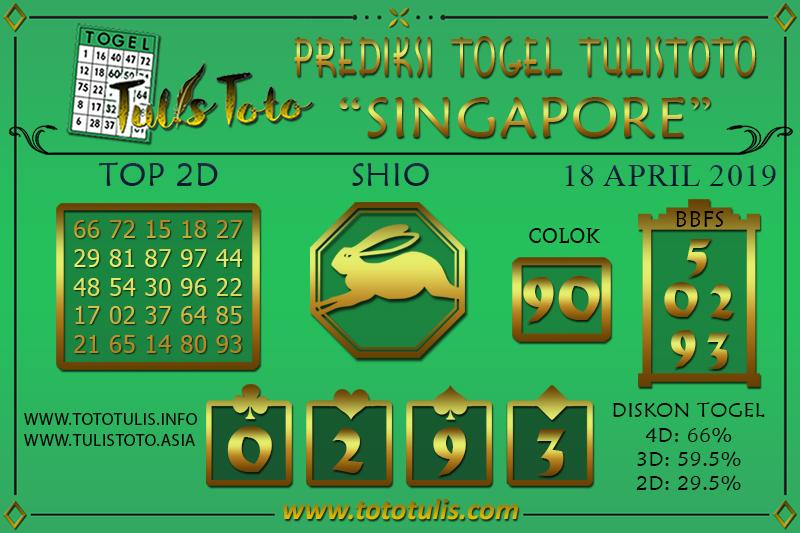 Prediksi Togel SINGAPORE TULISTOTO 18 APRIL 2019