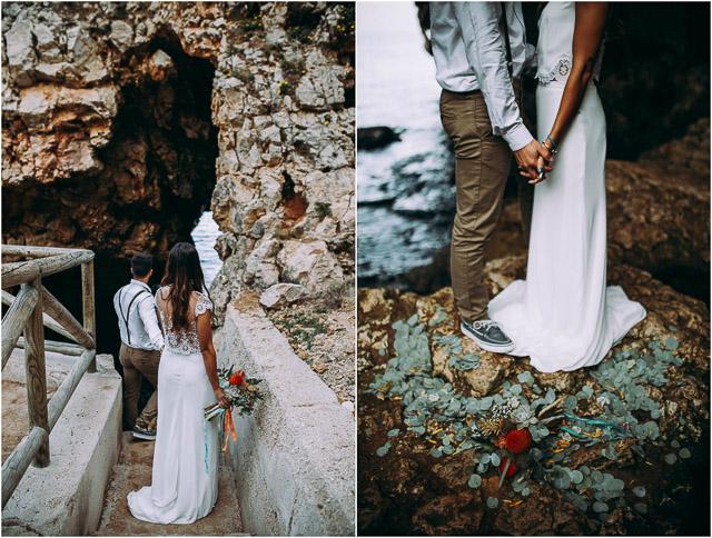 novia playa bohemia descalza sandalia larca dos piezas