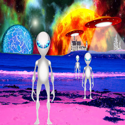 Three aliens standing on a beach and two flying saucers and an egg shaped planet in the background.