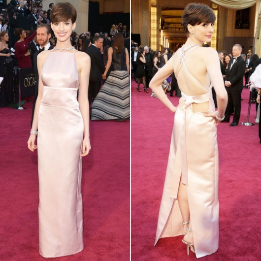 Anne Hathaway Gown: Anne Hathaway's Prada Oscar Gown Ruffled Feathers At