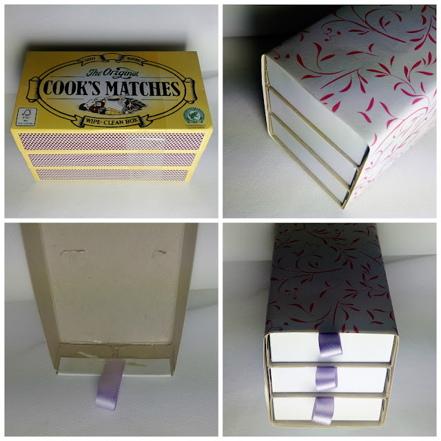 Instructions to make a set of trinket drawers out of match boxes.