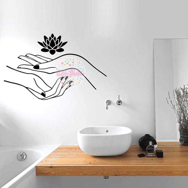 Vinilo decorativo manos flor de loto spa w157 cdm for Vinilos decorativos salon