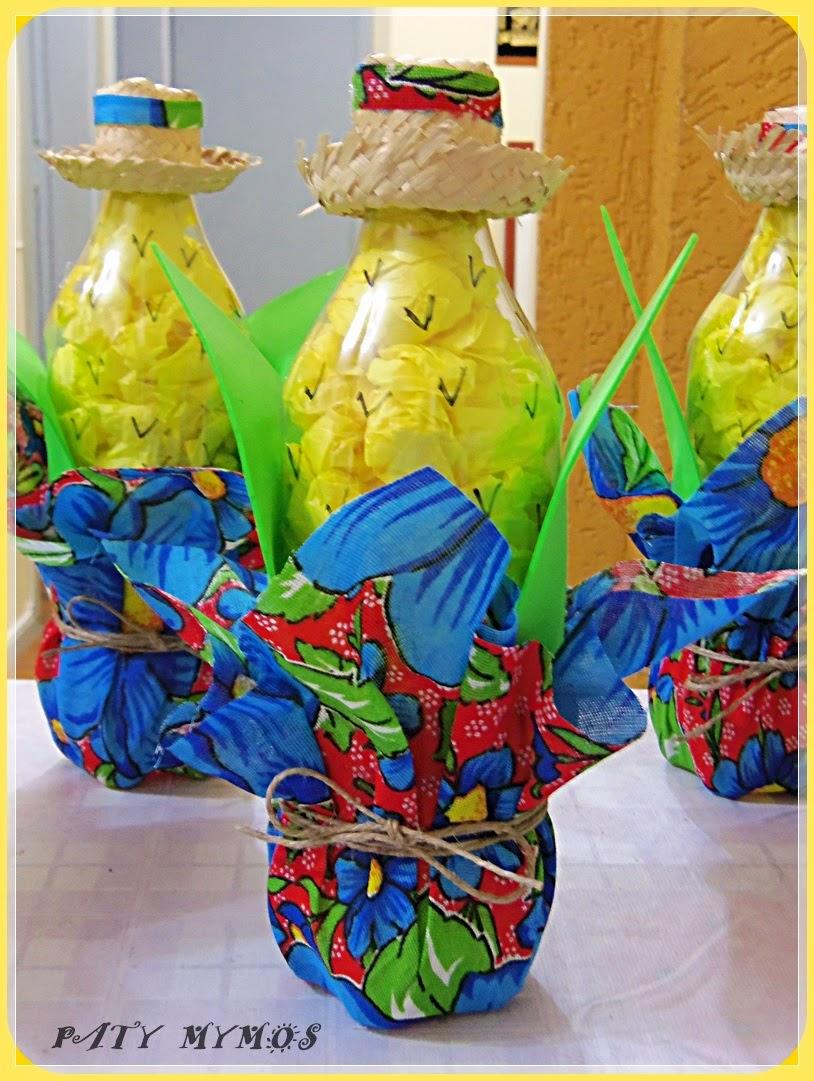 Decoraç u00e3o de festa junina com garrafa pet Pra Gente Miúda -> Decoração De Festa Com Garrafa Pet