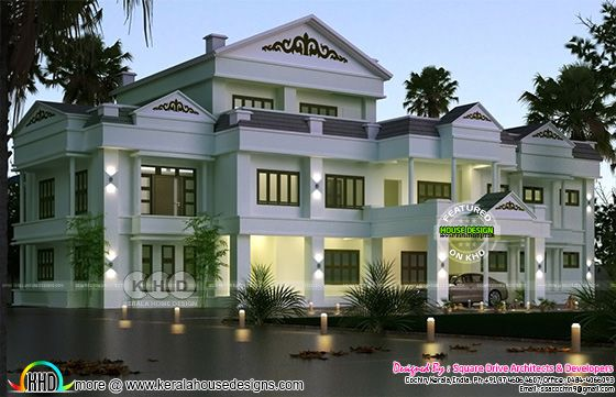 Colonial house construction design proposed at Cochin, Kerala