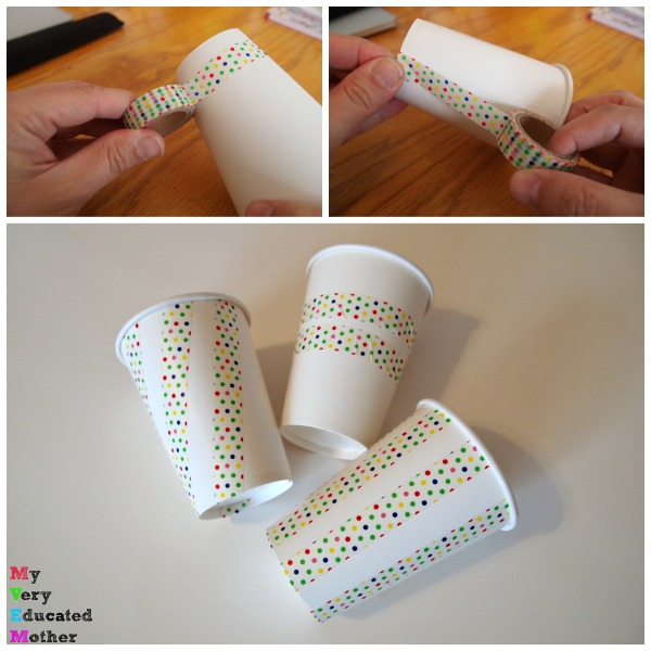 Washi tape to the rescue! A great way to specialize party supplies.