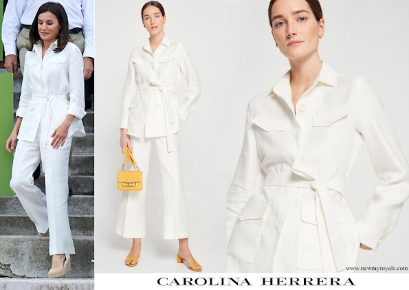 Queen Letizia wore Carolina Herrera ivory-belted-linen-jacket