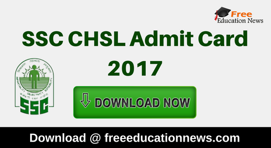 SSC CHSL Admit Card 2017