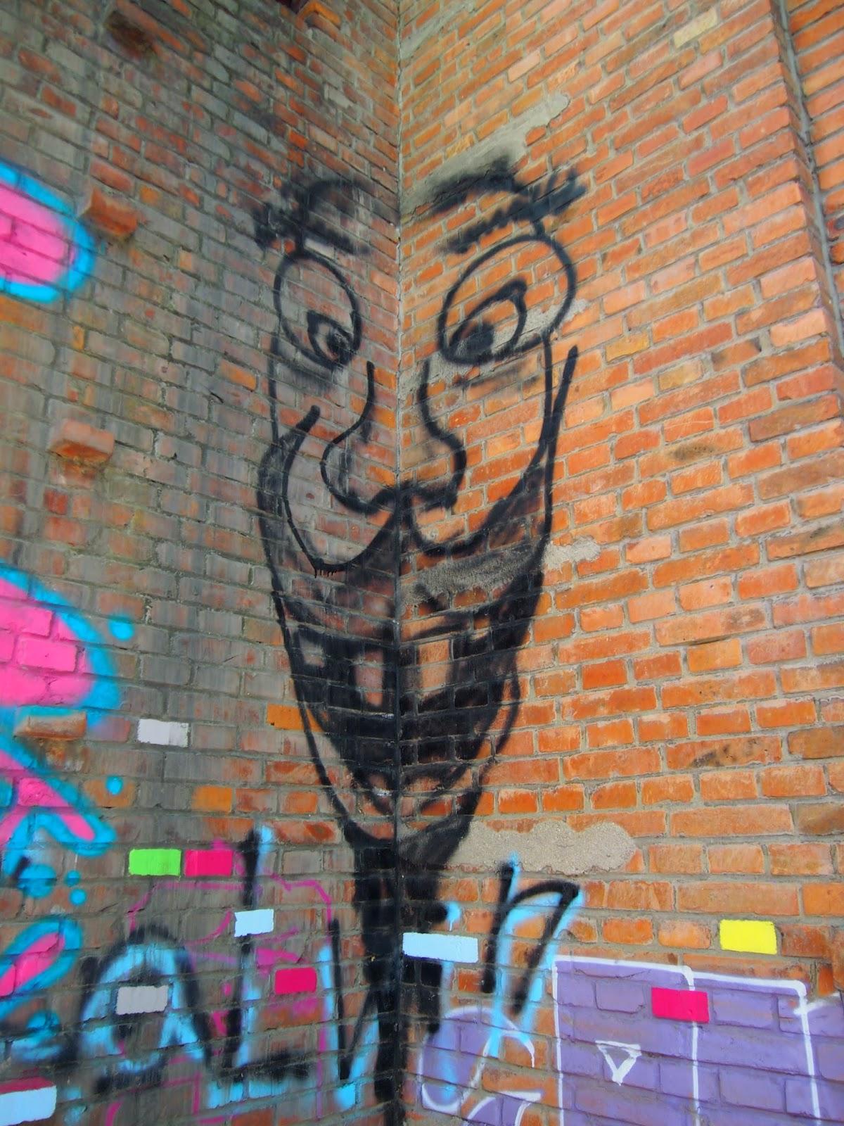 corner mustache man street art