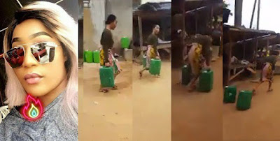 Popular slay queen spotted fetching water with two 25litres keg.. She ran when she was spotted