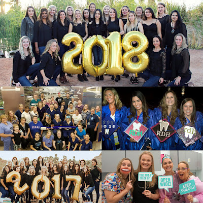 Collage of group photos of dental hygiene students at pinning ceremonies, graduation and at dental clinic.