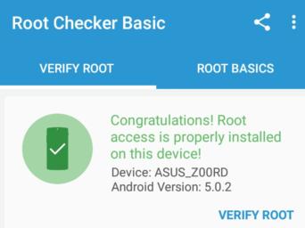 Cek status root Asus Zenfone 2 laser ZE500KG (Z00RD)