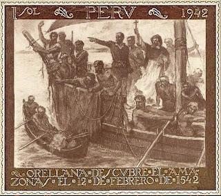 Orellana descubre el Amazonas (estampilla conmemorativa) - Germán Suárez Vértiz