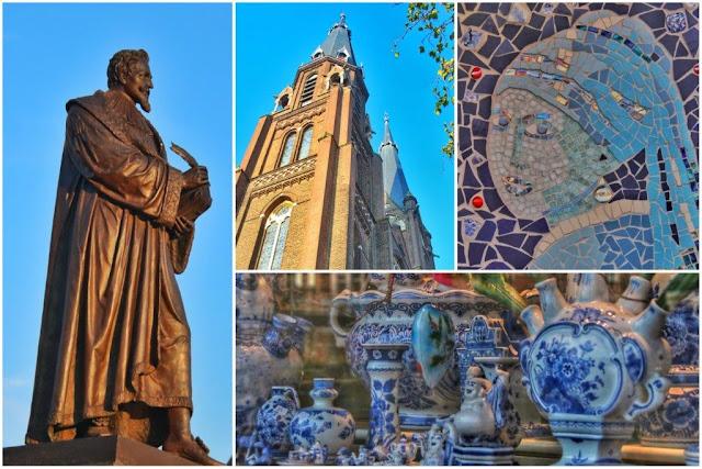 Estatua de Hugo Grotius en Delft – Iglesia – Mosaico de La joven de la perla de Vermeer – Ceramica azul de Delft