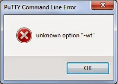 Putty Command Line Error - unknown option
