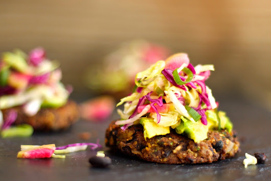 Black bean cakes with avocado and slaw