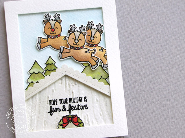 Sunny Studio Stamps: Gleeful Reindeer Rooftop Holiday Christmas Card by Emily Leiphart