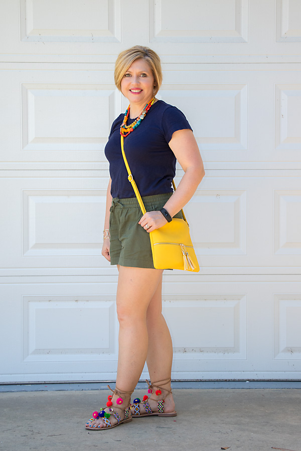 olive shorts with navy