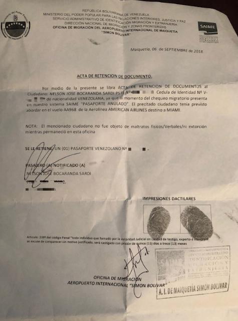 Saime anuló pasaporte a Nelson Bocaranda pese a tener prórroga vigente