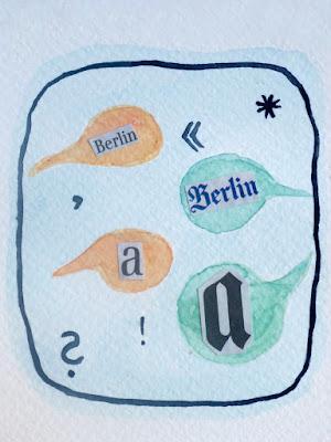 Sprechblasen mit Schrift - normal - gotisch (Aquarell mit Zeitungsbuchstaben)