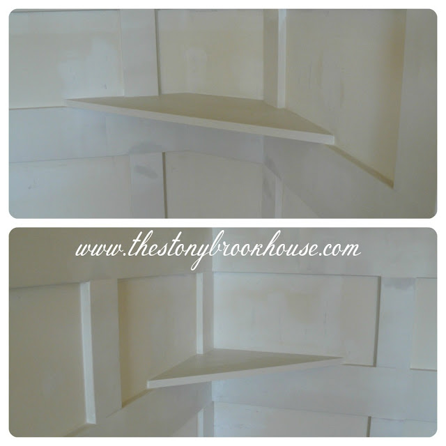 corner shelfs in board and batten