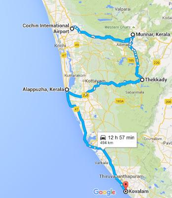 Cochin, Munnar, Thekkady, Alleppey, Kovalam, Map, Itinerary, Kerala