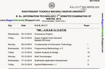B sc information technology 1st sem new timetable winter for Rtmnu time table 4th sem