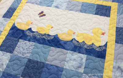 Baby Duck Quilt, made by Dilys,  quilted by Frances Meredith at Fabadashery Longarm Quilting