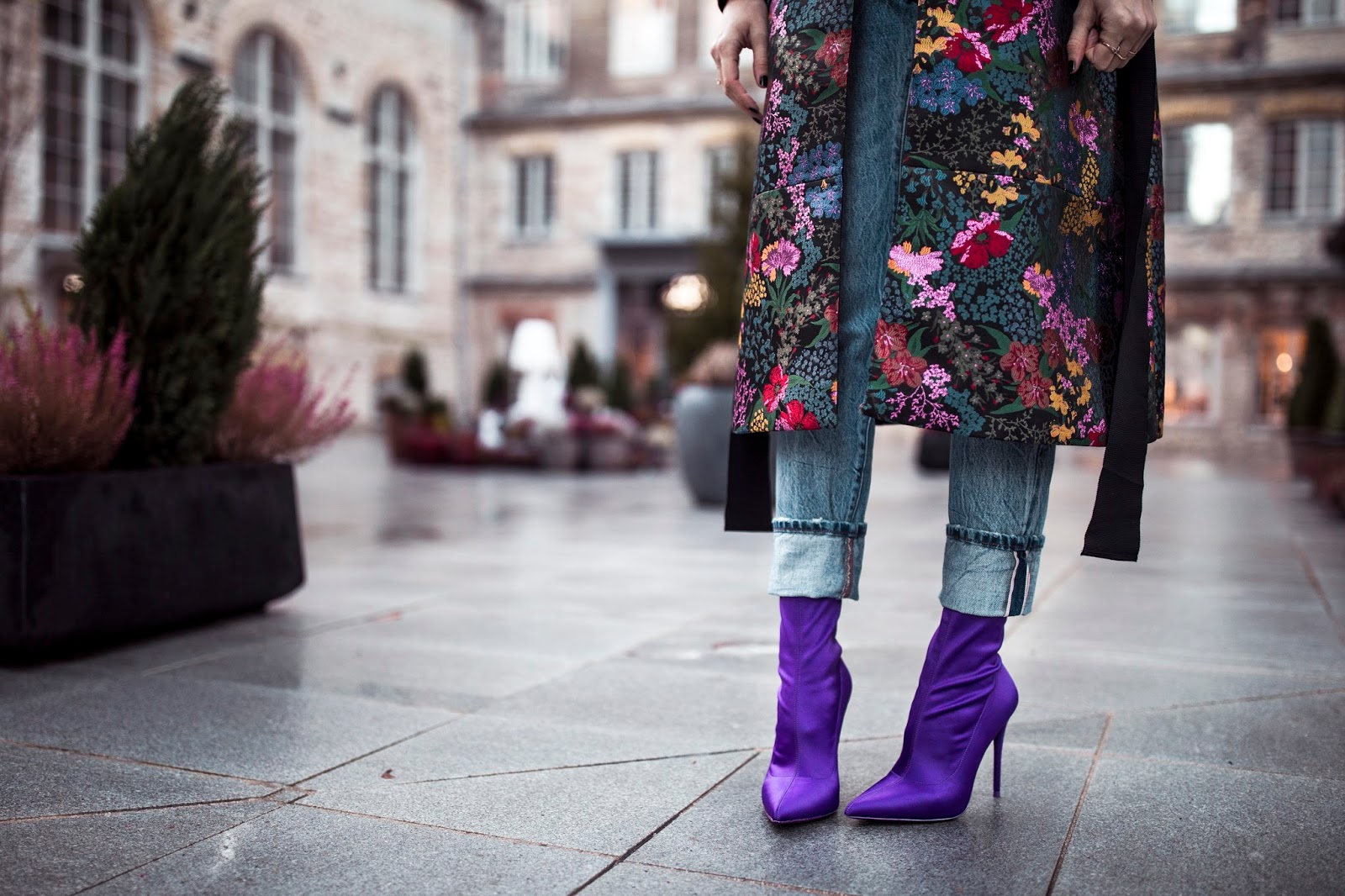 purple aldo sock boots floral coat jeans
