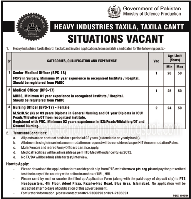 Medical Jobs in Ministry of Defence Production Taxila Islamabad