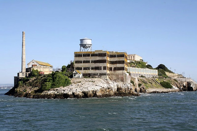 Landscape of sea,coast and building at Alcatraz Island