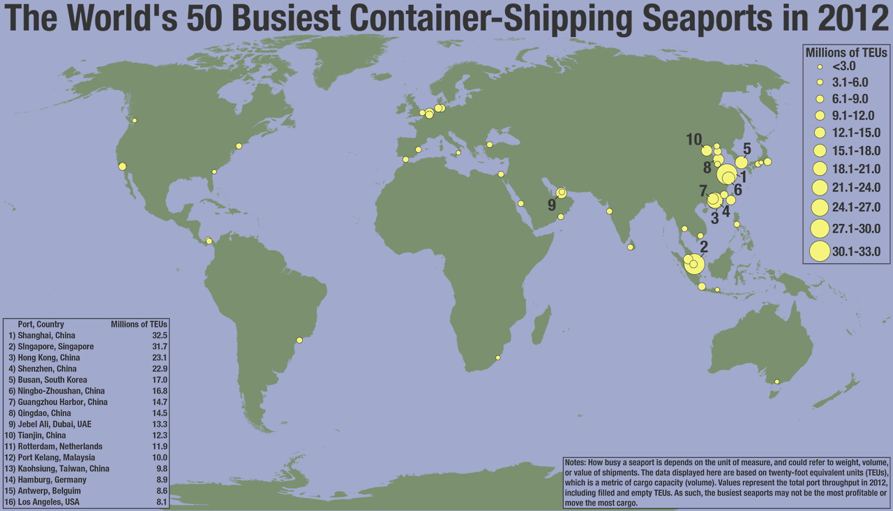 The World's 50 busiest container-shipping seaports