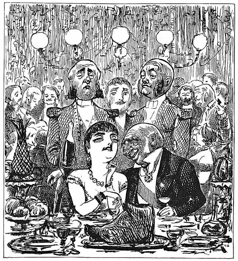 a George Du Maurier cartoon 1898, dirty old rich man